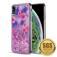 Quicksand Glitter Transparent Case for iPhone XR - Tropical Floral