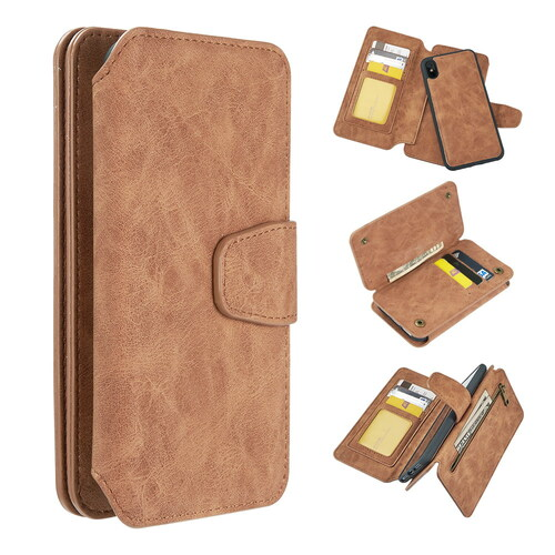 3-IN-1 Luxury Coach Series Leather Wallet with Detachable Magnetic Case for iPhone XS / X - Brown