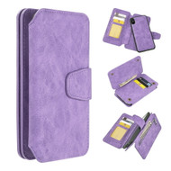 3-IN-1 Luxury Coach Series Leather Wallet with Detachable Magnetic Case for iPhone XS / X - Lavender