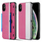 Kard Series Dual Hybrid Case with Card Slot and Magnetic Kickstand for iPhone XS / X - Pink Silver