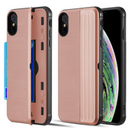 Kard Series Dual Hybrid Case with Card Slot and Magnetic Kickstand for iPhone XS / X - Rose Gold