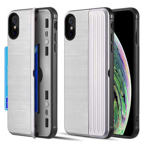 Kard Series Dual Hybrid Case with Card Slot and Magnetic Kickstand for iPhone XS / X - Silver