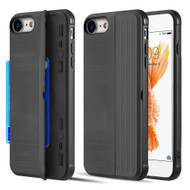 Kard Series Dual Hybrid Case with Card Slot and Magnetic Kickstand for iPhone iPhone 8 / 7 - Black