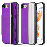 Kard Series Dual Hybrid Case with Card Slot and Magnetic Kickstand for iPhone iPhone 8 / 7 - Purple Silver