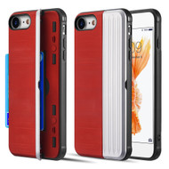 Kard Series Dual Hybrid Case with Card Slot and Magnetic Kickstand for iPhone iPhone 8 / 7 - Red Silver