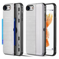 Kard Series Dual Hybrid Case with Card Slot and Magnetic Kickstand for iPhone iPhone 8 / 7 - Silver