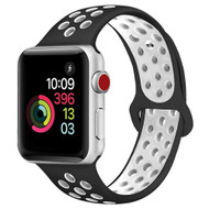*FINAL SALE* Performance Sports Silicone Watch Band for Apple Watch 44mm / 42mm - Black White