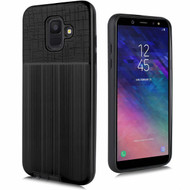 Double Texture Anti-Shock Hybrid Protection Case for Samsung Galaxy A6 (2018) - Black