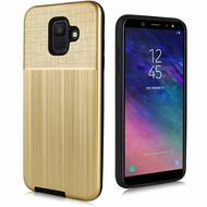 Double Texture Anti-Shock Hybrid Protection Case for Samsung Galaxy A6 (2018) - Gold