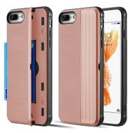 Kard Series Dual Hybrid Case with Card Slot and Magnetic Kickstand for iPhone iPhone 8 Plus / 7 Plus - Rose Gold