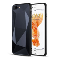 Scratch Resistant Diamond Cut Tempered Glass TPU Fusion Case for iPhone iPhone 8 Plus / 7 Plus - Black