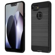 Brushed Coated Hybrid Armor Case for Google Pixel 3 XL - Black