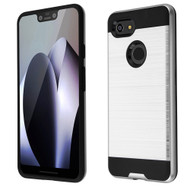Brushed Coated Hybrid Armor Case for Google Pixel 3 XL - Silver