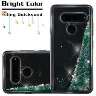 Quicksand Glitter Transparent Case for LG V40 ThinQ - Teal Green