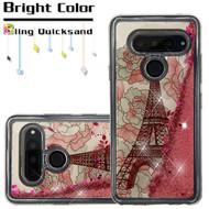 Quicksand Glitter Transparent Case for LG V40 ThinQ - Eiffel Tower