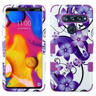 Military Grade Certified TUFF Hybrid Armor Case for LG V40 ThinQ - Purple Hibiscus Flower