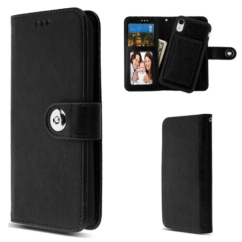 3 In 1 Luxury Leather Wallet Case For Iphone Xr Black