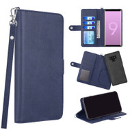 3-IN-1 Infinity Series Luxury Leather Wallet Case for Samsung Galaxy Note 9 - Navy Blue