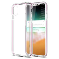 Crystal Clear TPU Case with Bumper Support for iPhone XS Max - Pink