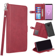 3-IN-1 Infinity Series Luxury Leather Wallet Case for Samsung Galaxy Note 9 - Red