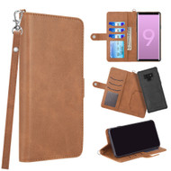 3-IN-1 Infinity Series Luxury Leather Wallet Case for Samsung Galaxy Note 9 - Brown