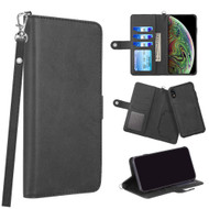 3-IN-1 Infinity Series Luxury Leather Wallet Case for iPhone XR - Black