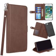 3-IN-1 Infinity Series Luxury Leather Wallet Case for iPhone 8 Plus / 7 Plus / 6S Plus / 6 Plus - Dark Brown