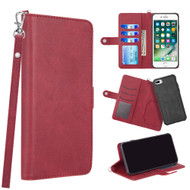 3-IN-1 Infinity Series Luxury Leather Wallet Case for iPhone 8 Plus / 7 Plus / 6S Plus / 6 Plus - Red