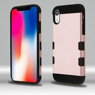 Military Grade TUFF Trooper Dual Layer Hybrid Armor Case for iPhone XR - Rose Gold