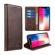 2-IN-1 Luxury Magnetic Leather Wallet Case for iPhone XS Max - Brown