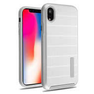 Haptic Dots Texture Anti-Slip Hybrid Armor Case for iPhone XR - Silver