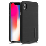 Haptic Dots Texture Anti-Slip Hybrid Armor Case for iPhone XR - Black