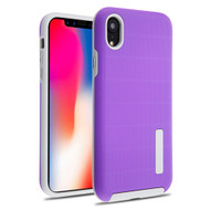Haptic Dots Texture Anti-Slip Hybrid Armor Case for iPhone XR - Purple