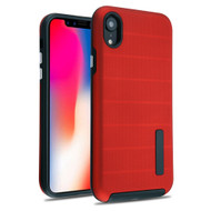 Haptic Dots Texture Anti-Slip Hybrid Armor Case for iPhone XR - Red