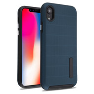 Haptic Dots Texture Anti-Slip Hybrid Armor Case for iPhone XR - Navy Blue