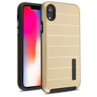 Haptic Dots Texture Anti-Slip Hybrid Armor Case for iPhone XR - Gold