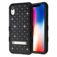 Military Grade Certified TUFF Diamond Hybrid Armor Case with Stand for iPhone XR - Black