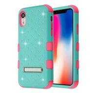 Military Grade Certified TUFF Diamond Hybrid Armor Case with Stand for iPhone XR - Teal Green Electric Pink