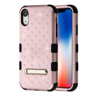 Military Grade Certified TUFF Diamond Hybrid Armor Case with Stand for iPhone XR - Rose Gold