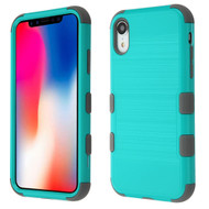 Military Grade Certified Brushed TUFF Hybrid Case for iPhone XR - Teal Green Iron Grey