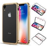 Magnetic Adsorption Aluminum Bumper Case with Tempered Glass Back Plate for iPhone XR - Gold