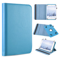 Universal 360 Degree Rotating Leather Folio Kickstand Case - Baby Blue
