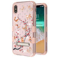 Military Grade Certified TUFF Diamond Hybrid Armor Case with Stand for iPhone XS Max - Butterflies Spring Flower Rose Gold