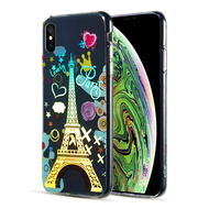 *Sale* Decoration Series Holographic Printing Transparent Fusion Case for iPhone XS / X - Eiffel Tower