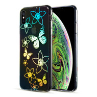 Decoration Series Holographic Printing Transparent Fusion Case for iPhone XS / X - Butterfly
