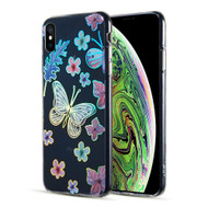 Decoration Series Holographic Printing Transparent Fusion Case for iPhone XS Max - Sakura Butterfly