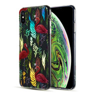 Decoration Series Holographic Printing Transparent Fusion Case for iPhone XS Max - Flamingo