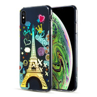 Decoration Series Holographic Printing Transparent Fusion Case for iPhone XS Max - Eiffel Tower