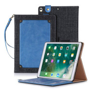 *Sale* Leather Canvas Smart Folio Wallet Stand Case with Auto Sleep/Wake for iPad Pro 10.5 inch - Blue