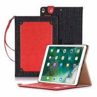 Leather Canvas Smart Folio Wallet Stand Case with Auto Sleep/Wake for iPad Pro 10.5 inch - Red